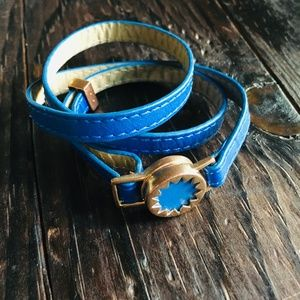HOUSE OF HARLOW 1960 Blue Wrap Bracelet Gold Clasp